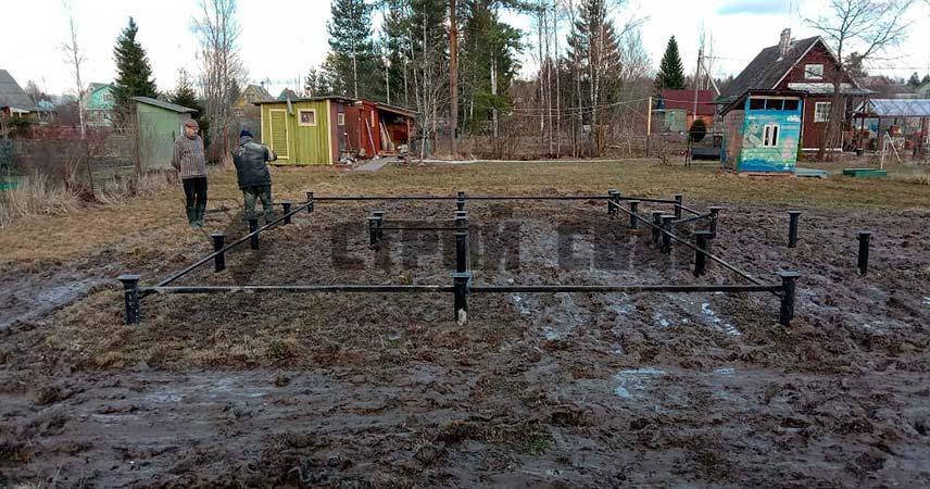 Установка свайно-винтового фундамента в поселке Чаща