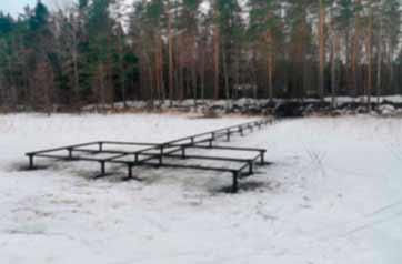 Строительство причала на винтовых сваях, озеро Нахимовское