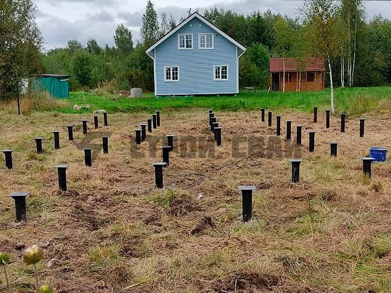 Свайно-винтовой фундамент 10 на 12 метров