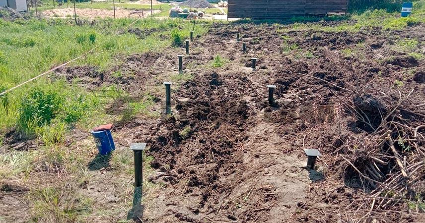 Установка свайно-винтового фундамента под хозяйственную постройку в поселке Грузино Парк