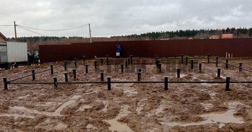 Монтаж винтовых сваи 108 мм с обвязкой под дом в поселке Грузино Парк