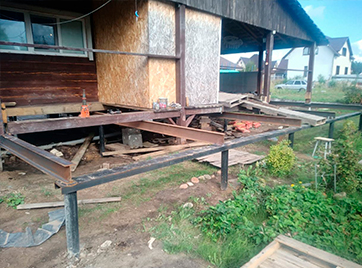 Подъем и замена фундамента дома 10х10 метров в городе Сосновый Бор
