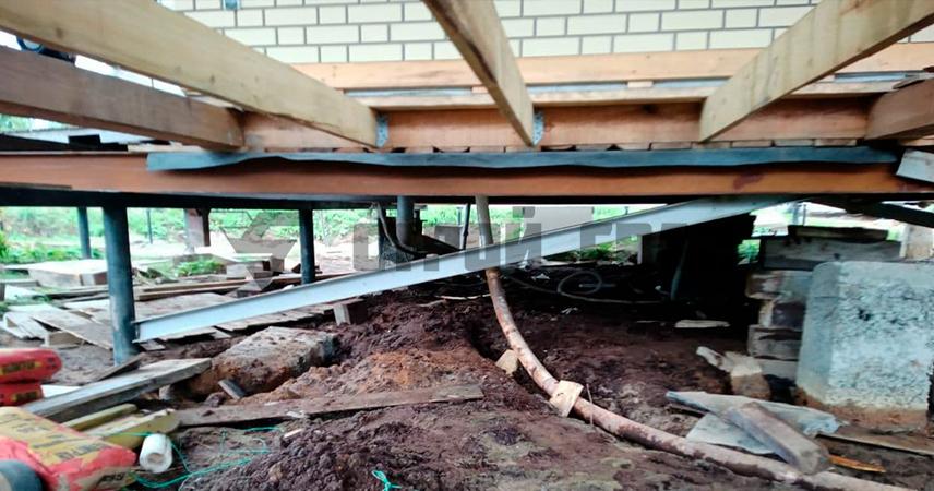 Подъем и замена фундамента о дома 10х10 метров