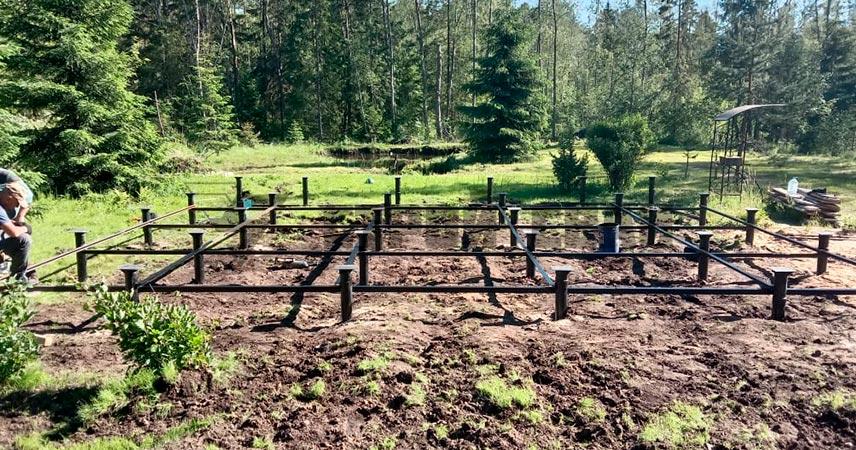Установка и обвязка винтовых свай 108 мм под дом в поселке Зеленая Роща